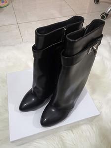 TIBURÓN de cuero mujer botas planas de las botas de tacón puntiagudo París clásico negro de piel de vaca de bloqueo de arranque captura del tobillo con la caja