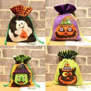 Bolsas 4GMj4 partido del caramelo de Santa Sack caramelo bolsa de regalo de Santa muñeco de nieve de Halloween Elk media con el cable de la galleta de Navidad de vacaciones con cordón decoración JK