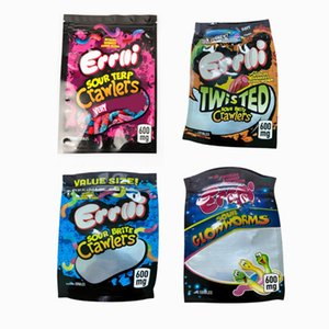 600MG Errlli Sour Terp Crawlers Mylar Bag Edibles Empty Zipper Pouch Dustproof Smell Proof Storage Packaging gummies edibles packaging bags