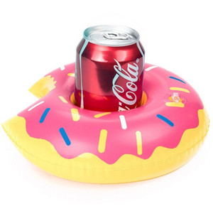 Summer Donuts Drink Holder Water Fun Toy Swimming Pool Rafts Inflatable Floating Air Inflation Toy Beach Party Kids Phone Cup Holders