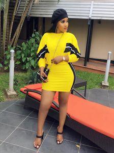 2019 women stripes splicing o neck bat wing long sleeve mini midi skirts suit 2 pieces set fashion active wear bodycon dress