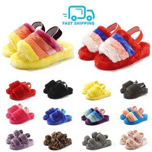 Nuovo diapositive Fur pantofole per le donne Oh Yeah moda scarpe Sandali donna Pantoufle esterna Furry Colorful Red Pantofole Infradito Tongues