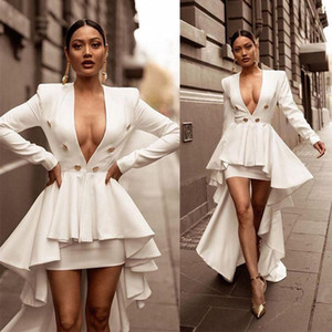 2021 Sexy Ivory Prom Dresses Plunging V Neck Long Sleeves Buttons High Low Chiffon Custom Made Tiered Skirt Formal Evening Party Gowns