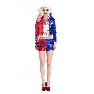 Взрослый смертница Состав Harley Quinn костюм Cosplay Полный комплект Harley Quinn Fancy Outfit Halloween Cosplay Клоун с парик PS056