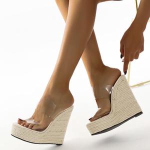 Kristal PVC Jelly Sandal Kadınlar Şeffaf Sandalet Ayakkabı Plus Size Kadın Platform Wedges Yüksek Topuklar Kadın Ayakkabı Chaussure Femme