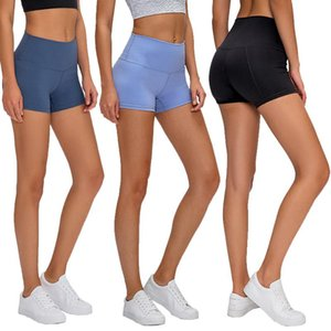 High waist women's yoga shorts ninth pants solid color sports gym clothes breeches leggings stretch fitness ladies overall running shorts