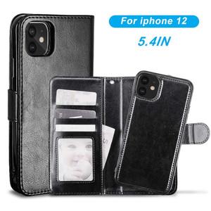 Para iPhone 12 11 Pro XS MAX X 7 8 PLUS 2 EN 1 CUBIERTA DE CARNE DE CUERA DE CUERO DE CUERPA DE PIEL DE MAGNÉTICA SAMSUND S20