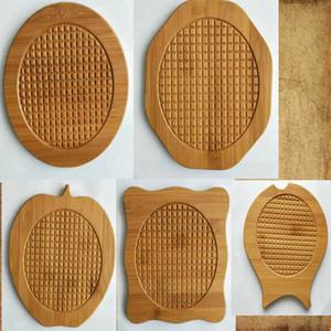carré rond tampon d'isolation tasse de thé en bois massif tapis antidérapant