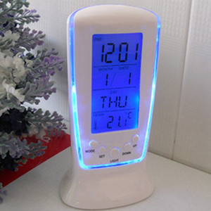 LED Digital Alarm Clock with Blue Backlight Electronic Watch LCD Display Calendar Thermometer Desktop Clock