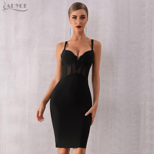 Adyce 2020 Summer Lace Bandage Dress Women Vestidos Sexy Spaghetti Strap Black Bodycon Club Dress Elegant Celebrity Party