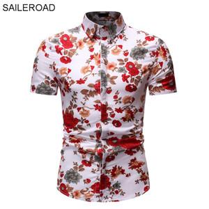 SAILEROAD Camisa Flores Mujer Hombre Camisa Blusa Masculina camisas floral de la camisa de los hombres de Hawai de Slim Fit Imprimir Tops Camisa Preta