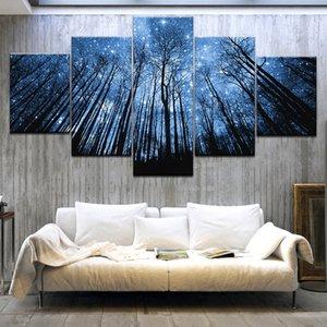 Ev Dekorasyonu Kanvas Posterler Odası Duvar Sanatı Özet Resimleri Framework Living 5 adet Orman ile Bule Starry Sky Tablolar