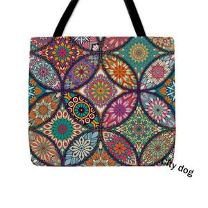 Biblia señoras de la mandala decorativo del bolso de hombro Oriental dicha Bohemia Ararat flor Arabesque bolsas de tela reutilizables Bolsa de la compra