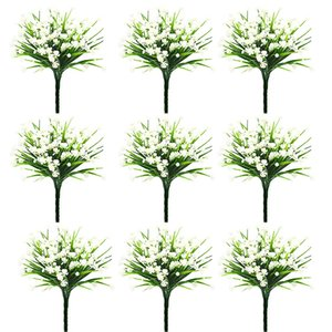 20 Pieces of Simulation 7 Fork Water Grass Rose Small Lotus Plastic Plant Fake Flower Home Decoration