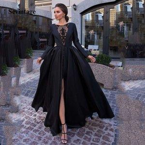 Sevintage Black A Line Simple Women Prom Dresses Lace Satin Formal Evening Party Gowns Front Split Long Sleeve vestido de noche Y200710