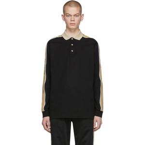 20ss europea riflettente manica Ribbon Lettera Stripe Polo a maniche lunghe Camicia Coppie modo di alta qualità delle donne degli uomini camicia HFXHTX368