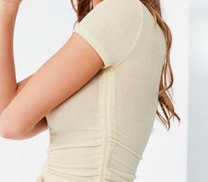 Summer Knitting Short Sleeve Women's T-shirts White V-Neck Drawstring Short Female Crop Tops 2020 Sexy Slim Ladies Top Clothes66