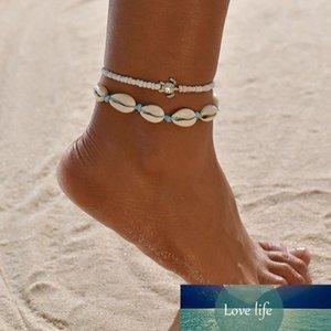 Vintage Turtle Shell Ankle Bracelets on Leg For Women Tortoise Seashell charm beads Blue String chains Anklet Bohemian Beach Jewelry