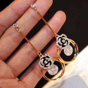 flor brilhando brincos borla flor de cristal gota cúbicos de jóias mulheres festa de casamento