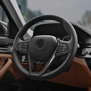 Black Dry carbon fiber Steering wheel trim cover Car interior Auto Parts For BMW 5 Series G30 520d 530d xDrive