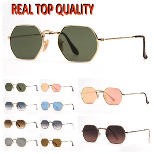 Moda das mulheres Óculos de sol Mens Sunglasses Octogonal Flat Metal Sun Lentes de Raio de Vidro Com Capa De Couro para Presente De Moda De Natal