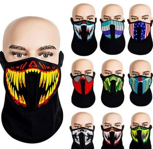 LED Light Up Face Mask Voice Activated Sound Control Face Masks Flashing Facemask Skull Gas Masks Halloween Party Revel Cosplay Toys E81201