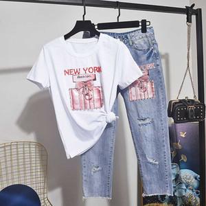 Verano Las mujeres conjunto diamante algodón de la camiseta de la camisa Hembra + Agujeros Vaqueros de dos piezas del sexo femenino Trajes suelta la camiseta pantalones vaqueros 2pc