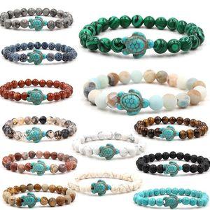 pedra frisado Natural pulseiras azul tartaruga pulseira de tartaruga do mar charme Ágata Olho de tigre turquesa Lava Pedra contas mulheres mens pulseiras