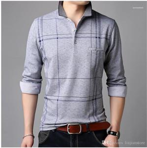 Lapel Neck Long Tees Casual Slim Mens Tees Spring Striped Mens tshirt Fashion Designer