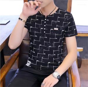 Одежда мужская дизайнер тройники V шеи Цветочные Печатается с коротким рукавом Мода Tshirt вскользь Mens лета Слим