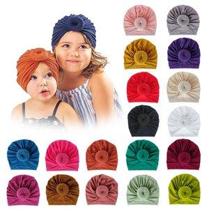 INS 18 Couleurs Nouveau mode Donut coton élastique Couleurs solides Accessoires cheveux Bonnet Bonnet multi couleur bébé Mère famille Chapeaux