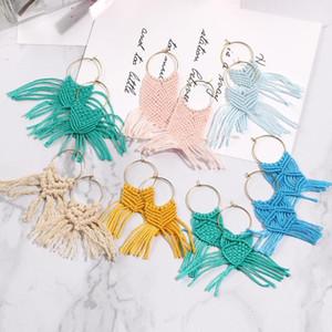 Artilady Macrame Hoop Brincos para Mulheres Multi Color Handmade Boho Brincos jóias de transporte da gota