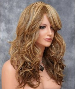Factory direct sale European and American mixed color high temperature wire whole head wig oblique bangs big wave curly brown wig