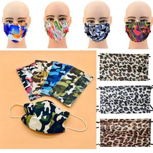 Kamuflaj Dantel Sigara Dokuma Anti-Dust moda perakende paket tek kullanımlık tasarımcı Yüz Maskeleri Maske Yetişkin Leopar tane koruyucu kulak halkalarına