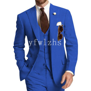 Handsome Two Buttons Groomsmen Peak Lapel Groom Tuxedos Mens Wedding Dress Man Jacket Blazer Prom Dinner suits (Jacket+Pants+Tie+Vest) W333