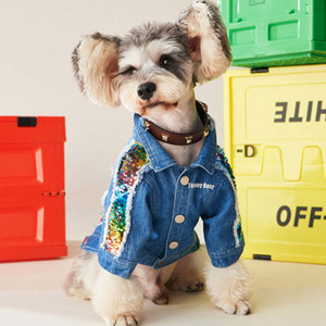 Tide Brand Dogs Cats Denim Jackets Sequins Pet Outerwears With Autumn Winter Schnauzer Pug Teddy Dog Coats Clothes Wholasale