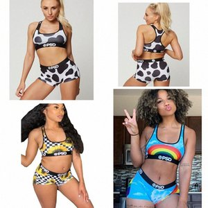 Free shipping PSD Women Swimwear Beachwear-Swimsuit Swim Shorts 3 colors Swimming Suit speckle rainbow flowers Suits Bikini Set Z7q3#