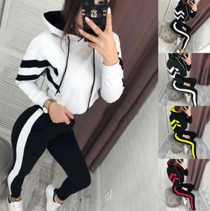 2 шт женщин с длинным рукавом Спортивные костюмы клобук шеи Letters Printed женские повседневные спортивные костюмы Relaxed Женская одежда Множественный выбор костюма