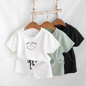 2020 New Newborn Infant Kids Baby Boy Girl Clothes Cotton Linen Tops T-shirts+shorts Pants 2pcs Summer Outfits Set X0923