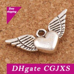 Angel Heart ailes Spacer Charm Perles Pendentifs 200pcs / Lot Antique alliage d'argent faits à la main Bijou Composants Diy L189