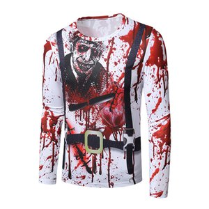 Mens Designer 3D TShirts Halloween Series Horror Theme Print Long Sleeve Round Neck T-shirt Mens Polo Tee T-shirt Streetwear Plus Size
