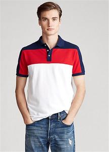 Verão de cor do mosaico para o negócio de algodão fino cor da camisa Polo de manga curta casuais masculina Polos americanos RL lapela T-shirt dos homens
