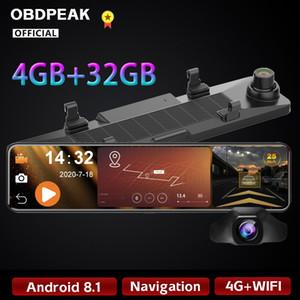 OBDPEAK 1080P 4G+32G Android 8.1 12 Inch Car DVR Camera RearView Mirror ADAS Wifi GPS Auto Video Registrator DashCam 24H Parking