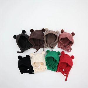 Upr3r Yeni örme kap bebek capKnitted bebek çevrimiçi popüler sevimli ayı kulak şapka çok renkli kürk topu bebek şapka