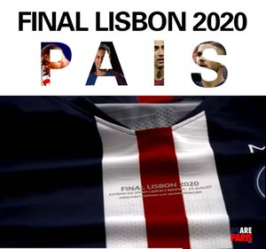 Edition définitive 2020 Août 23 maillots de football Paris # 7 MBAPPE # 10 NEYMAR JR 19/20 hommes jeu de football à domicile Coupe police football Uniformes MERCI