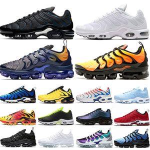 Nike Air Vapormax TN Plus Hombres Mujeres Zapatos Zapatos Triple Blanco Negro Oro uva Hyper Azul Naranja para hombre zapatillas de deporte de los corredores 36-47 Running
