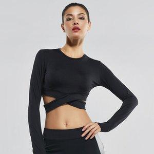 Yoga Outfits Willarme Женские Рубашки с длинным рукавом Фитнес Спортивные Футболки Сексуальный Открытый пупок Бег Быстрая Сухая Спортивная одежда Тренажер