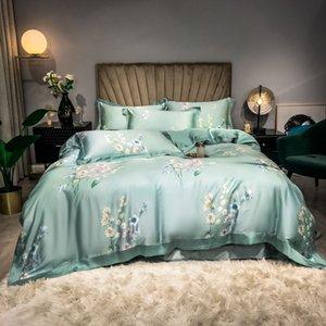 Light Green,Pink Floral Blossom Duvet Cover set Ultra Soft Tencel Summer Bedding set Flat sheet Pillowcases Queen King size 4pcs