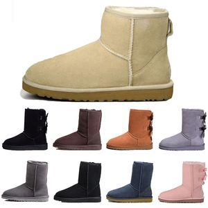 2020 nouvelles bottes designer femmes Australie fille bottes de neige classiques Bowtie cheville arc court botte de fourrure pour l'hiver mode noir marron