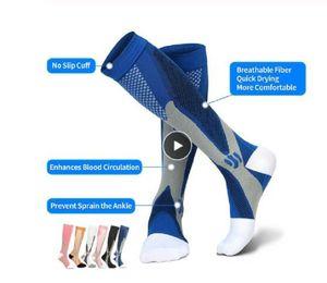Calze sportive Esecuzione Compression Socks Calze 20-30 mmHg Uomo Donna calzini sportivi per Marathon Ciclismo Football